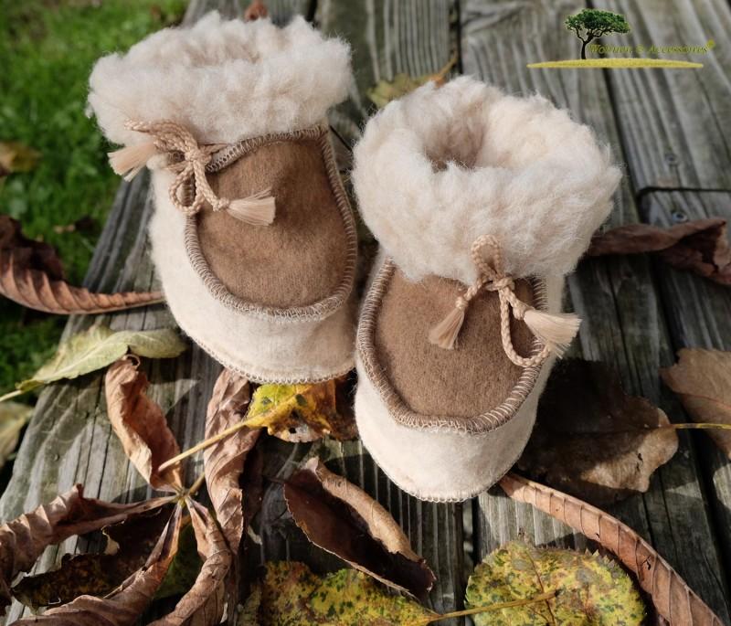 Sanfte Baby Wollschuhe aus feiner Merinowolle