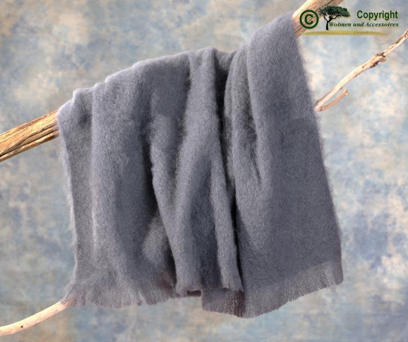 Beste Qualität aus Neuseeland! Luxus Wolldecke aus 100% Mohair, Mohairdecke, Mohairplaid graublau