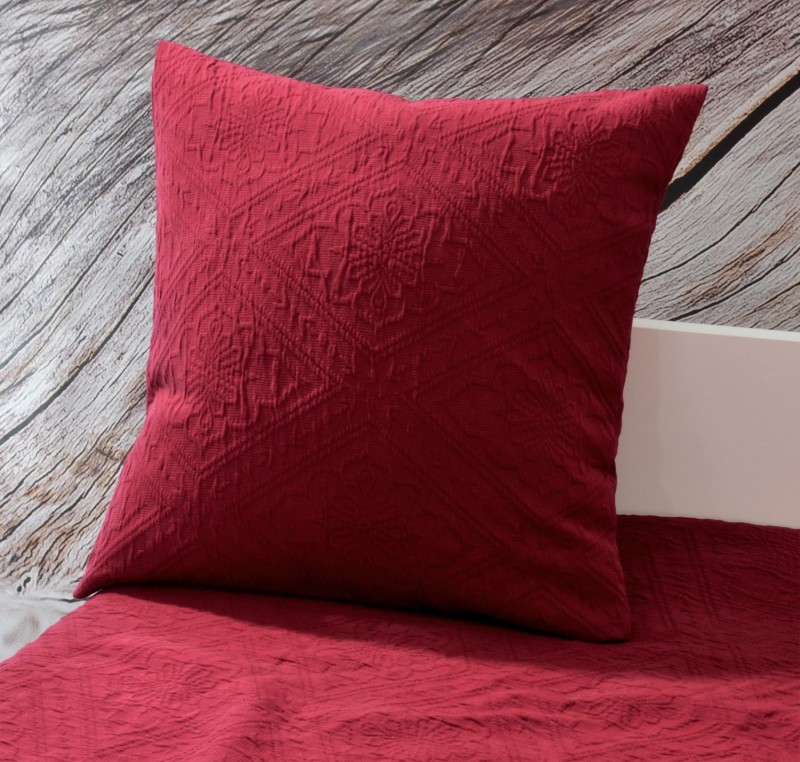 Kissen Faro - Blumenreliefs - rot 45x45cm
