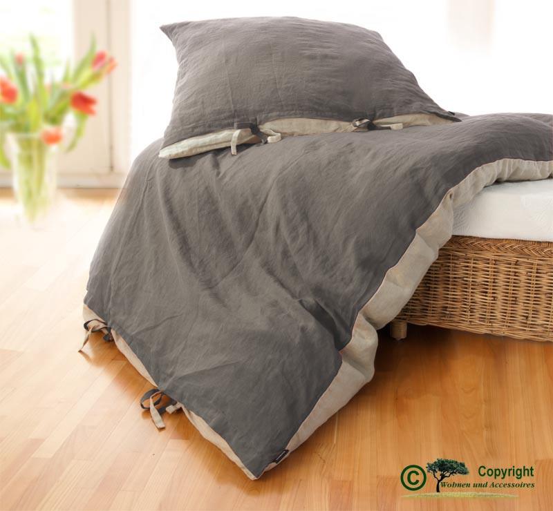 Französische Leinen-Bettwäsche, Bettbezug 140x200cm aus 100% Leinen grau