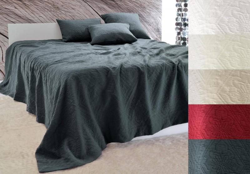 Tagesdecke Faro - Blumenreliefs - anthrazit 180x260 - 260x300cm