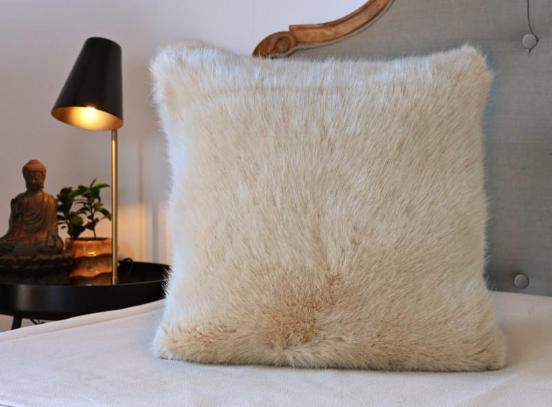 Premium Plus Fellkissen Sandrose beige 45x45cm