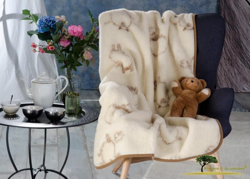 Wolldecke Lamm für Kinder (Kinderbettdecke) 95x135cm aus 100% Merino