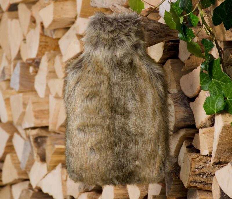 Wärmflaschenhülle aus Fell (Webpelz) Otter mit Naturgummi Wärmflasche
