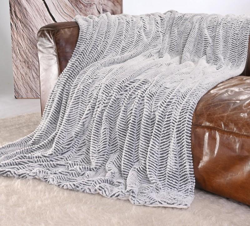 Kuscheldecke Felloptik weiß-dunkelgrau 220x240cm