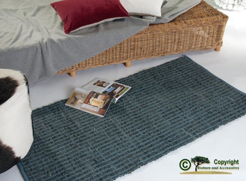 """AKTION Lederteppich, Webteppich, """"Flickenteppich"""" oder """"Fleckerlteppich"""", Vorleger aus Leder 70 x 14"""
