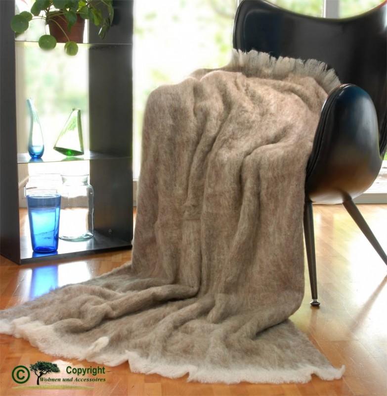 Beste Qualität aus Neuseeland! Wolldecke Emily aus Alpaka super weich wie Kaschmir hellbraun-beige