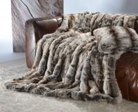 Felldecke (Webpelzdecke) Wolf grau-braun 170x220cm - Premium superfein