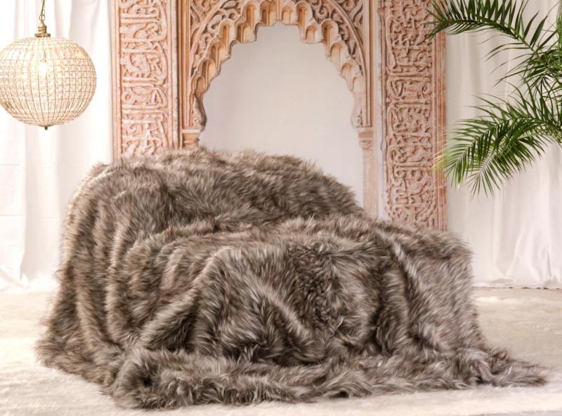 Felldecke (Webpelzdecke) Grizzly in braunen und grauen Tönen XXL 260x300cm