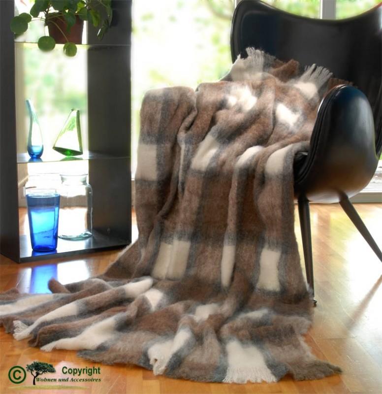 Beste Qualität aus Neuseeland! Wolldecke Ruby aus Alpaka super weich wie Kaschmir weiß-braun-beige